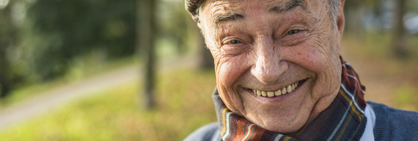 pensioner smiling