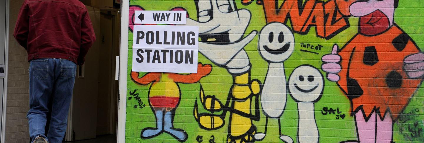 polling station grafitti wall