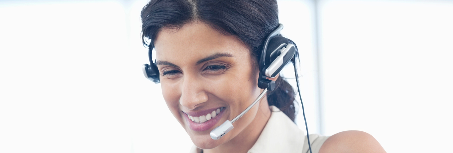 Lady wearing headset