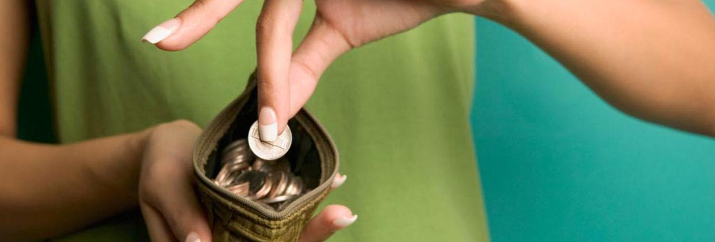 Pennies in purse