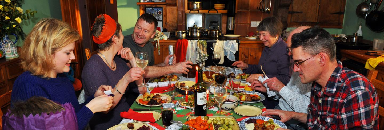 Christmas dinner around table