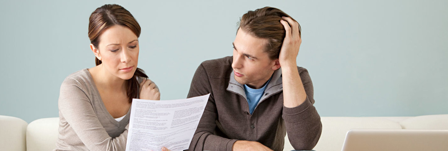 Couple worrying about bills